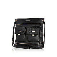 Black zip trim pocket messenger bag
