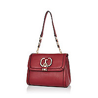 Dark red padlock shoulder bag