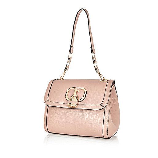 Light pink padlock shoulder bag
