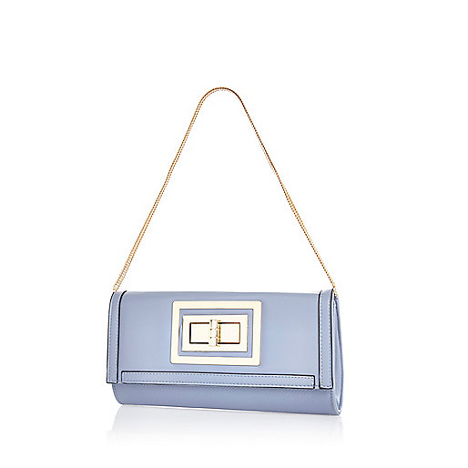 Light blue twist lock clutch bag