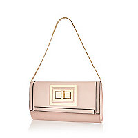 Light pink twist lock clutch bag