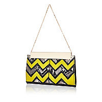 Lime zig zag panel frame clutch bag