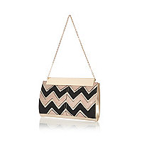 Light pink zig zag panel frame clutch bag