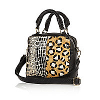 Black leather mixed animal print box bag