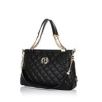 Black quilted chain handle tote bag