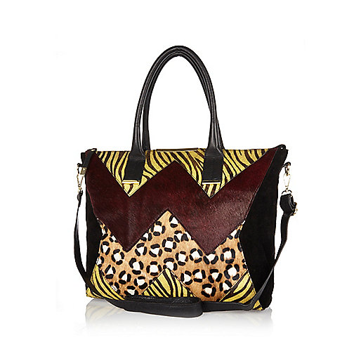 Black animal print pony hair tote bag