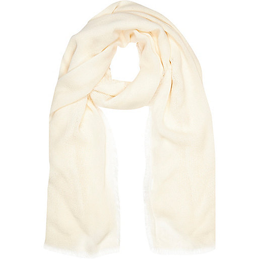 Cream gauze laddered scarf