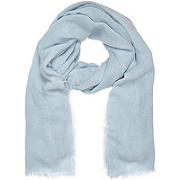 Light blue gauze laddered scarf