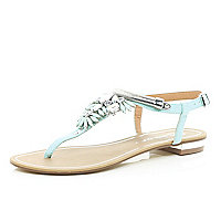 Turquoise gem stone embellished T bar sandals
