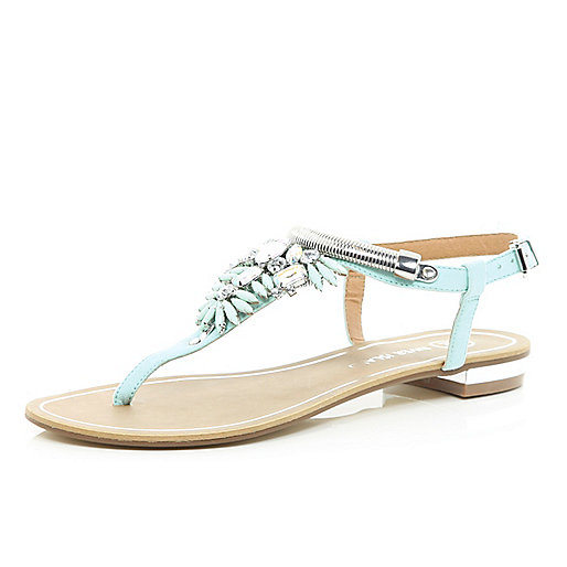 Turquoise gem stone embellished T bar sandals