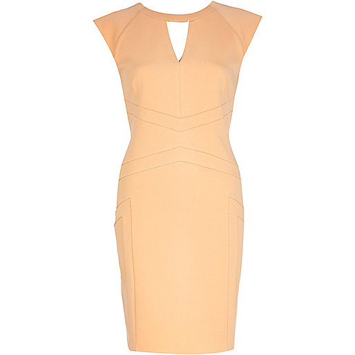 Light orange cut out pencil dress