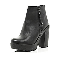 Black cleated sole block heel ankle boots