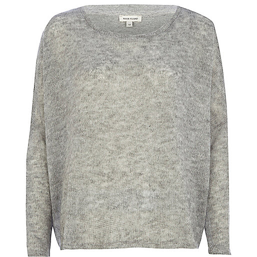 Light grey split back jumper