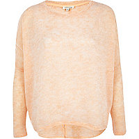 Light orange split back sweater