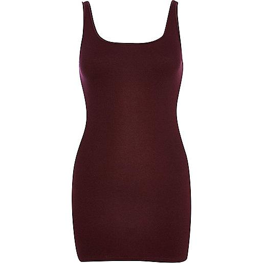 Dark red scoop neck longline vest