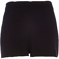 Black waffle textured smart shorts