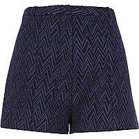 Navy zig zag jacquard smart shorts