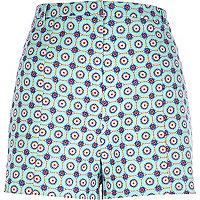 Turquoise tile print shorts