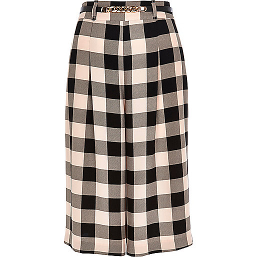 Pink check culottes