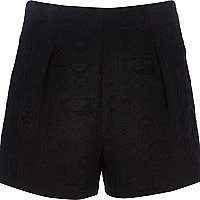 Black jacquard smart shorts