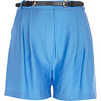 Blue smart high waisted shorts