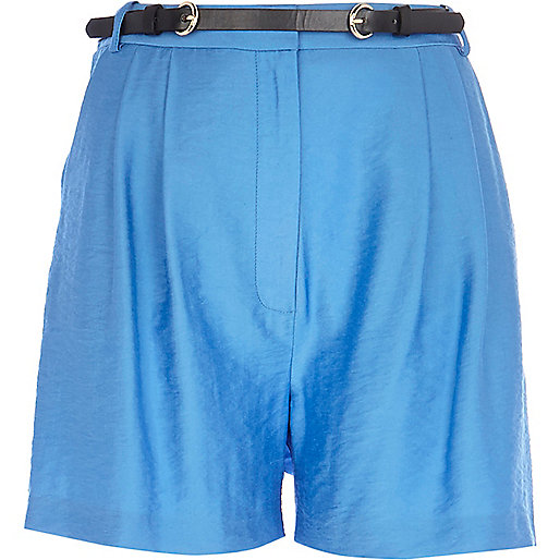 Blue smart high waisted shorts