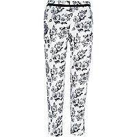 White floral print cigarette trousers