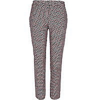 Black geometric print slim cigarette pants