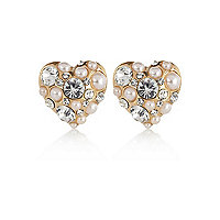 Gold tone pearl and diamante stud earrings
