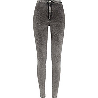 Dark grey acid wash tube pants