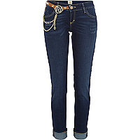 Dark wash chain trim Daisy slim jeans