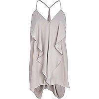 Light grey longline draped cami top
