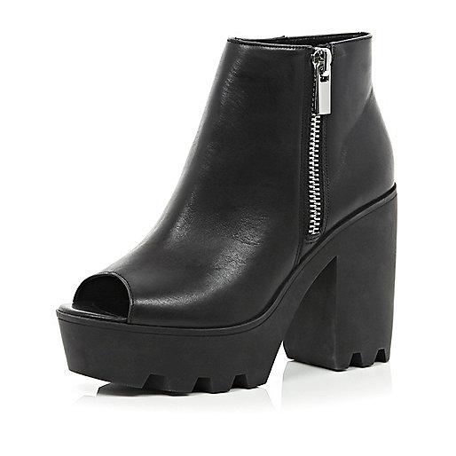 Black peep toe platform ankle boots