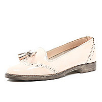 Light pink patent wingtip tassel loafers