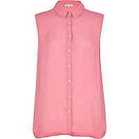 Pink textured sleeveless shirt