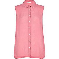 Pink textured sleeveless shirt