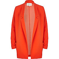 Red textured jersey blazer