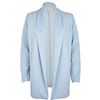 Light blue textured jersey blazer