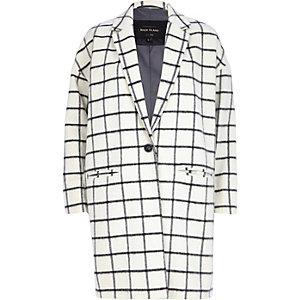 Cream wool-blend check oversized coat