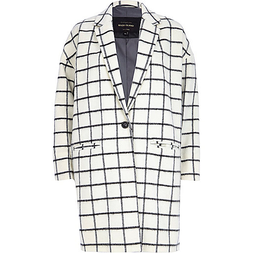 Cream wool-blend check oversized coat