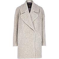 Light grey boucle oversized coat