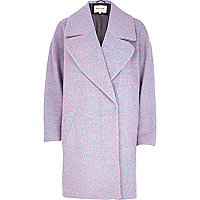 Pink two-tone wool-blend oversized coat