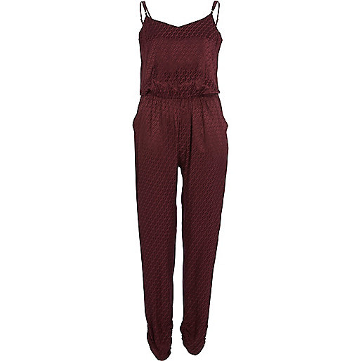Dark red tile jacquard cami jumpsuit