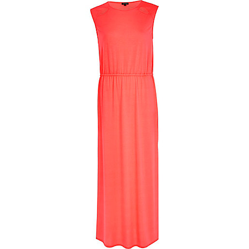 Bright coral cut out sleeveless maxi dress