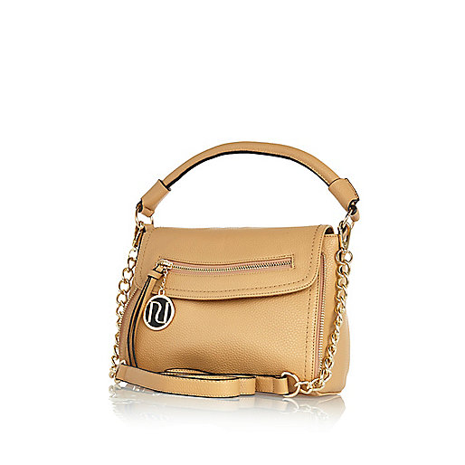 Beige mini cross body slouch bag