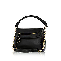 Black mini cross body slouch bag