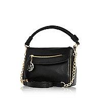 Black mini cross body slouch bag