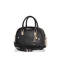 Black faux snake rounded bowler bag