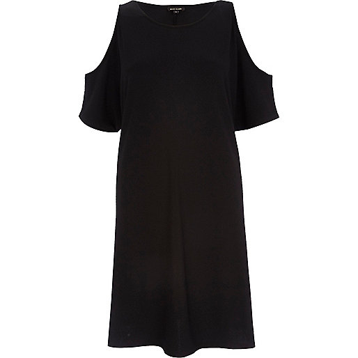 Black cold shoulder swing dress