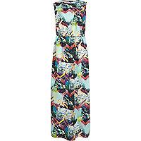 Black geometric floral print maxi dress